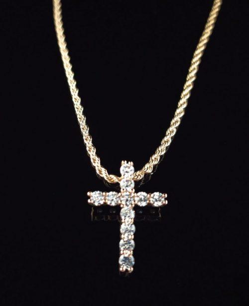 Позолоченный крестик с цепочкой и Фианитами