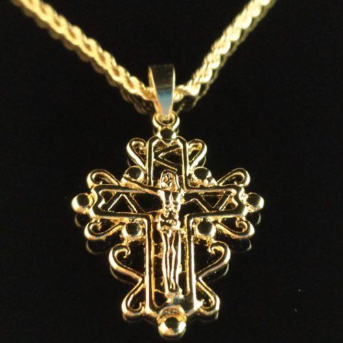 """Позолоченный крестик с цепочкой плетения """"Веревка"""""""