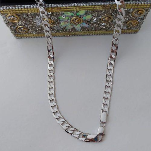 Цепочка «Панцирное плетение» родиевое покрытие