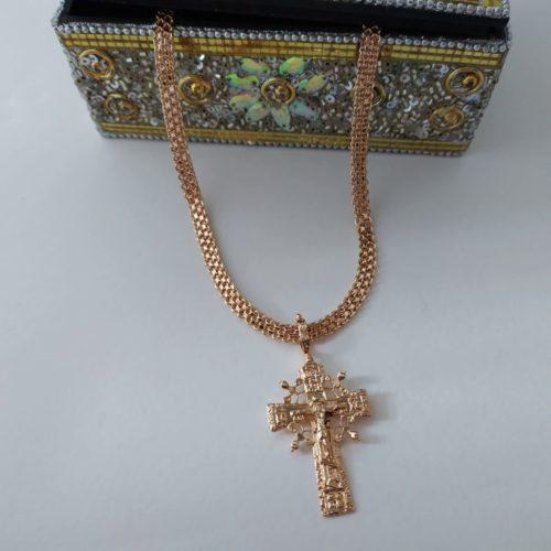 Позолоченный крестик с цепочкой плетения «Бисмарк якорный «