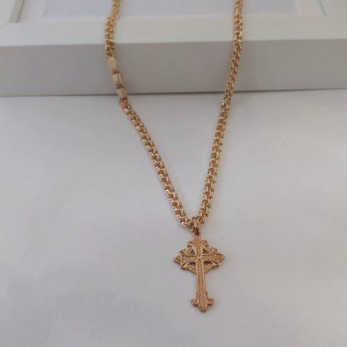 Позолоченный крестик с цепочкой плетения «Бисмарк»