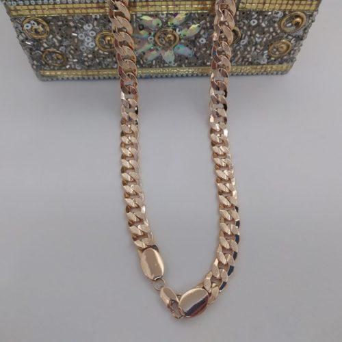 Позолоченная  цепочка плетения «Панцирное» с узором