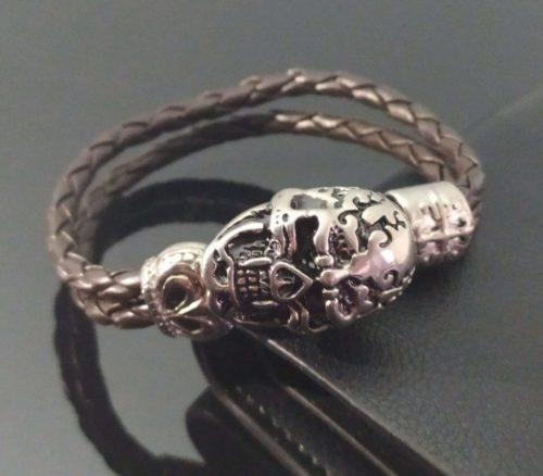Кожаный браслет двойного плетения Череп