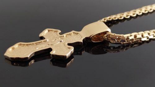 Позолоченный крестик с цепочкой плетения «Бисмарк якорный»