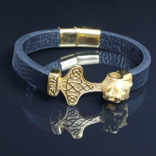 Кожаный браслет «Золотой Лев»