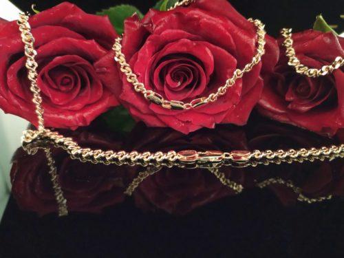 Позолоченный комплект цепочка и браслет