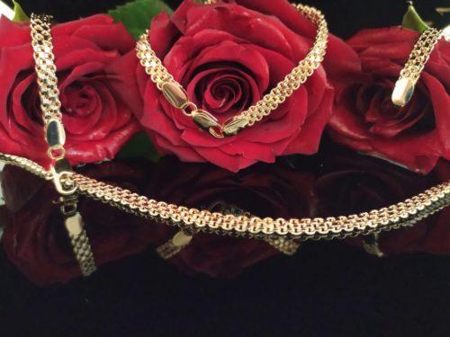 Позолоченный комплект цепочка с браслетом