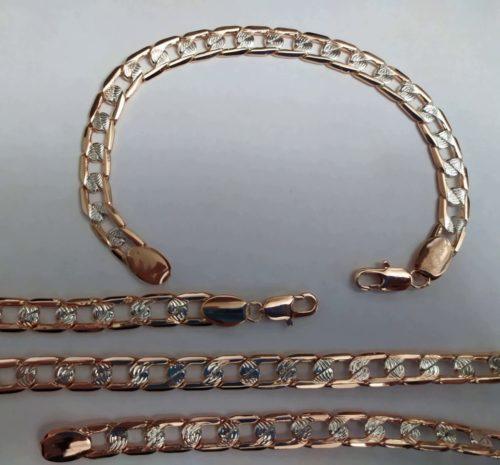 Позолоченный комплект цепочка и браслет панцирное плетение