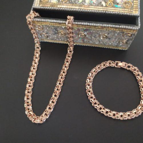 Позолоченный комплект плетение Бисмарк из цепочки и браслета