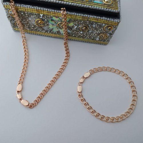 Позолоченный комплект цепочка и браслет плетения улитка