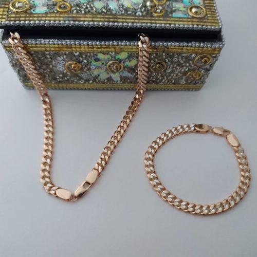 Позолоченный комплект плетение двойной панцирь из цепочки и браслета