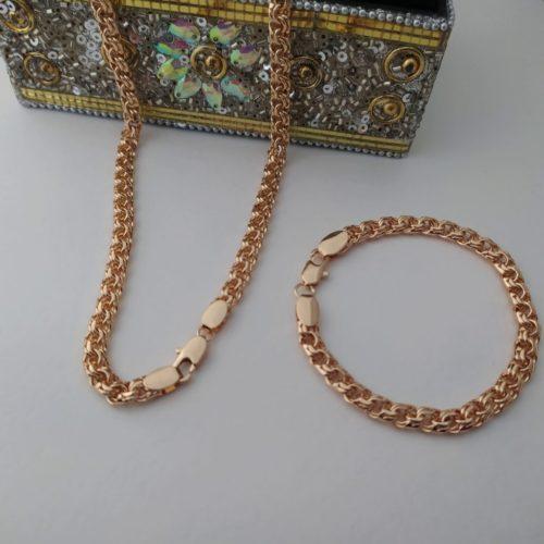 Позолоченный комплект цепочка и браслет плетения «Бисмарк»