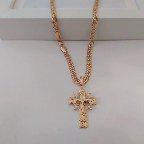 Позолоченный крестик с цепочкой плетения «Двойной ромб»