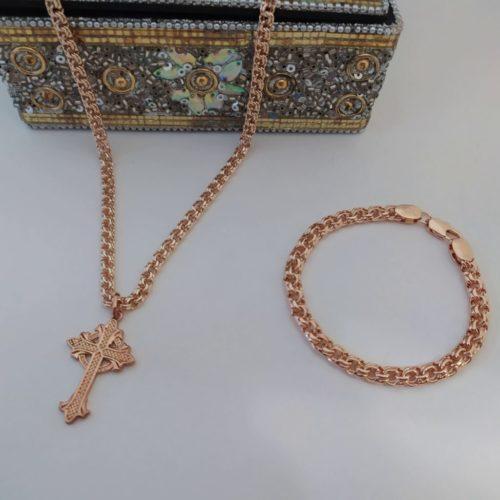 Позолоченный комплект цепочка и браслет плетения «Бисмарк» с крестиком