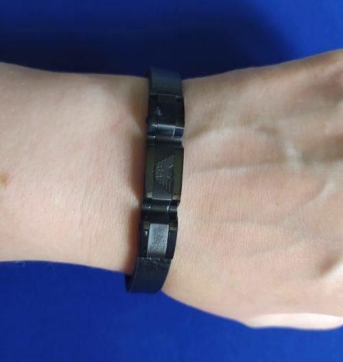 Мужской браслет из кожи со вставками Giorgio Armani
