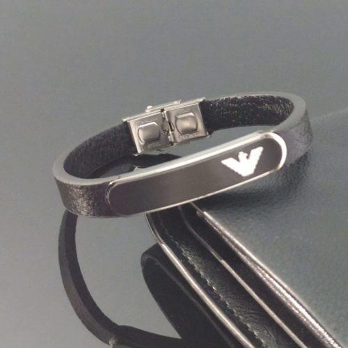 Кожаный браслет со вставкой из ювелирной стали EMPORIO ARMANI