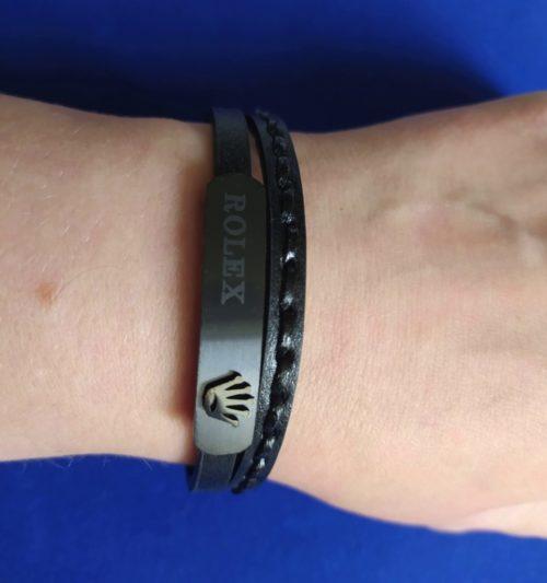 Мужской браслет из кожи со вставками Rolex
