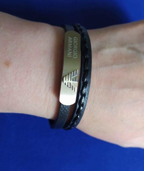 Кожаный браслет со вставкой из ювелирной стали Giorgio Armani