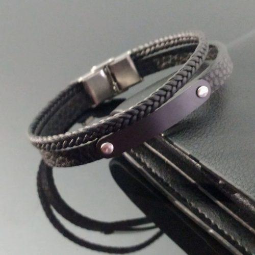 Кожаный браслет из ювелирной стали