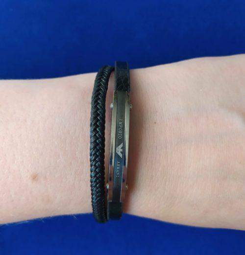 Мужской браслет из кожи со вставками из ювелирной стали Giorgio Armani