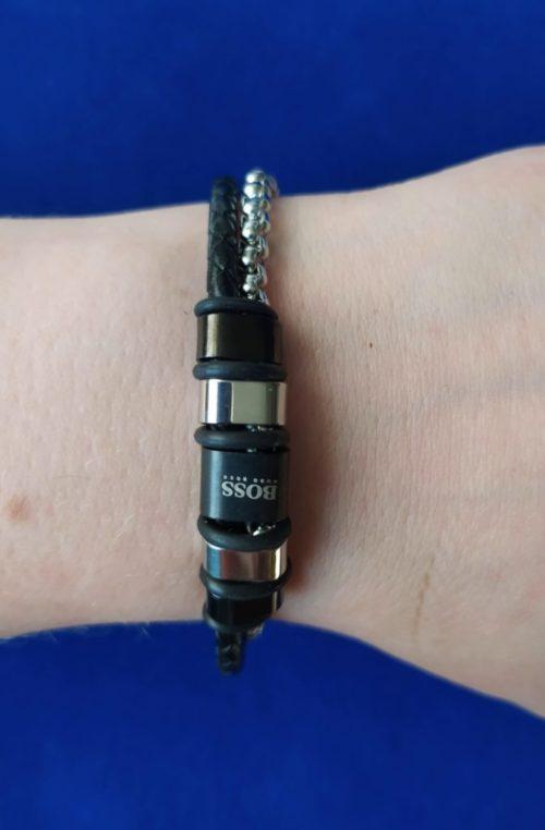 Мужской браслет из кожи со вставками из ювелирной стали HUGO BOSS