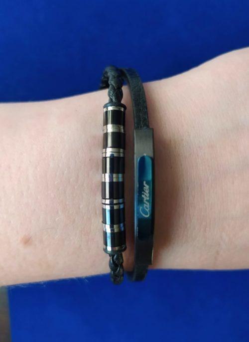 Мужской браслет из кожи со вставками из ювелирной стали