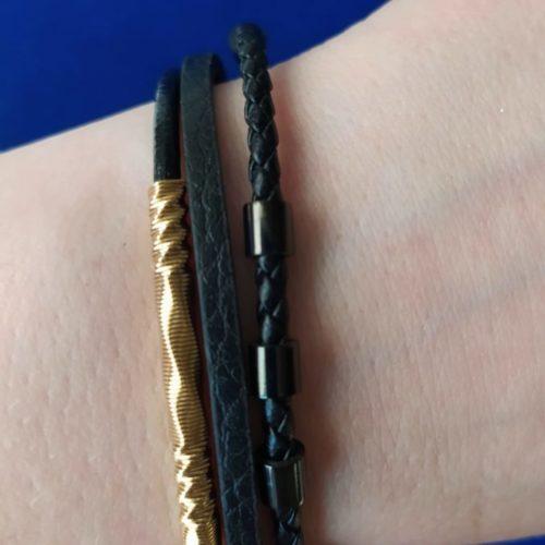 Кожаный браслет со вставкой из ювелирной стали