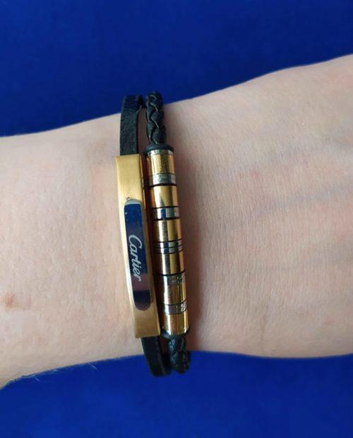 Мужской браслет из кожи со вставками из ювелирной стали Cartier