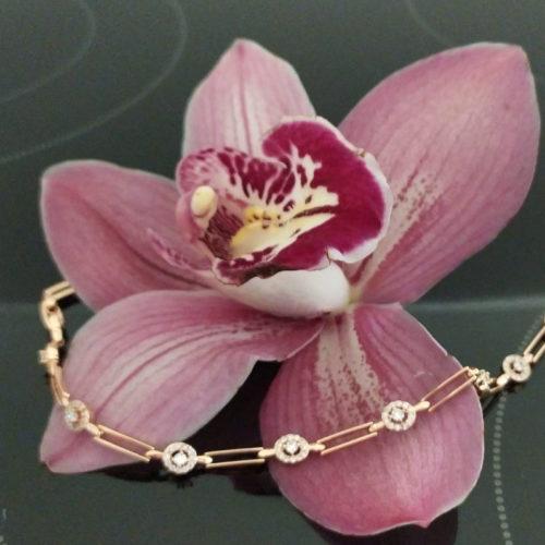 Женский позолоченный браслет «Белый Фианит»