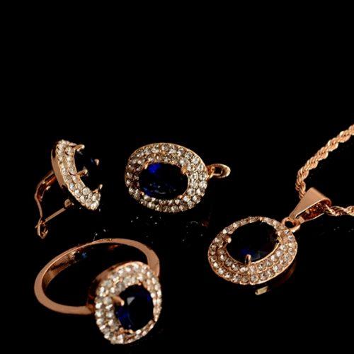 Женский позолоченный комплект с   Танзонитом, Фианитом
