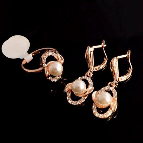 Женский позолоченный комплект с камнями Жемчугом, Фианитом