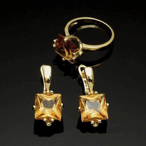 Женский позолоченный комплект с Алмазом