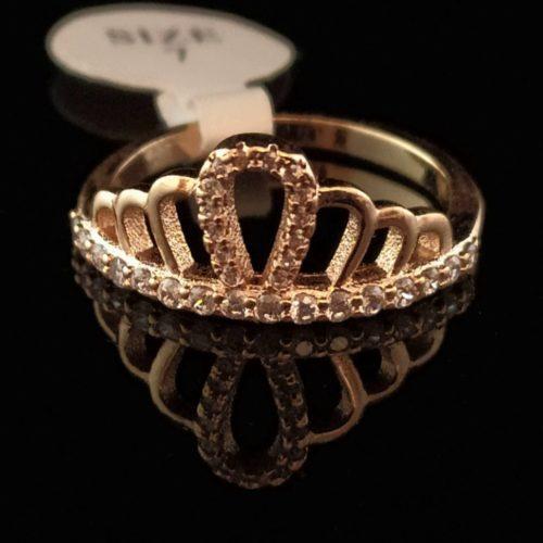 Женское позолоченное кольцо Корона с Фианитом