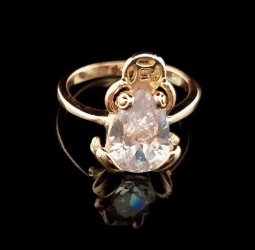 Женское кольцо позолоченное Лягушка камень  Горный хрусталь