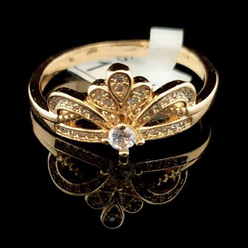 Женское позолоченное кольцо  пробы Корона с Фианитом