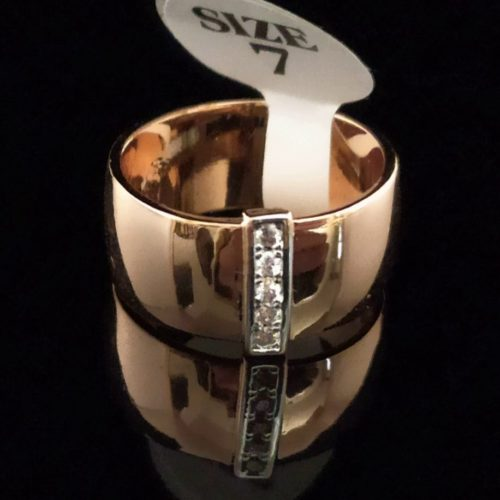 Женское позолоченное кольцо обручальное с Фианитом