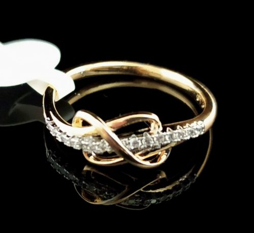 Женское позолоченное кольцо золото 585 пробы Бесконечность с Фианитом