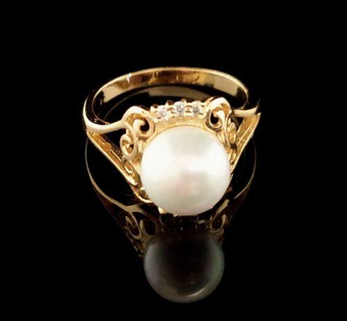 Женское позолоченное кольцо золото 585 пробы с жемчугом