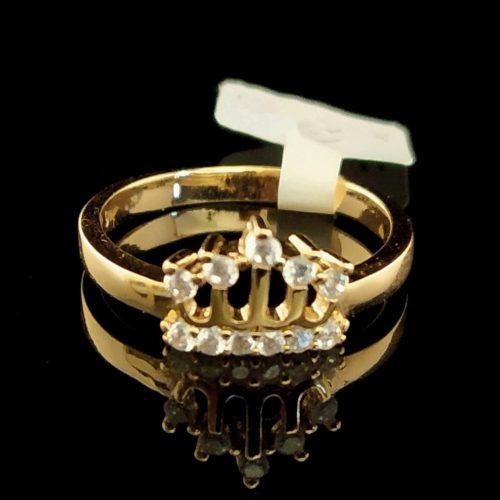 Женское позолоченное кольцо золото 750 пробы Корона
