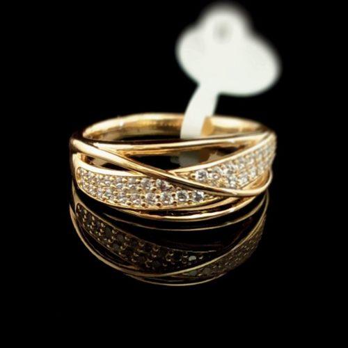 Женское позолоченное кольцо золото 585 пробы с Фианитом