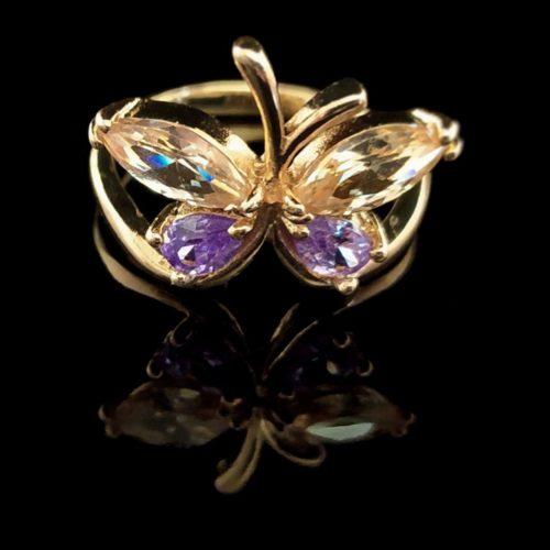 Женское кольцо позолоченное Бабочка камень   Горный хрусталь