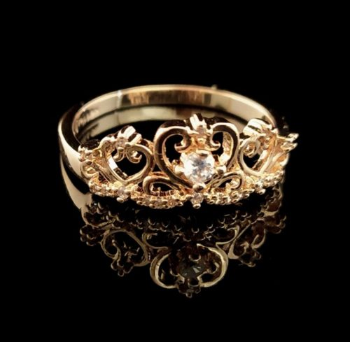 Kольцо позолоченное золото 585 пробы Корона и с Фианитом