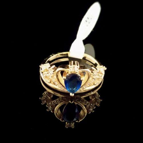 Kольцо позолоченное золото 585 пробы Корона с танзонитом