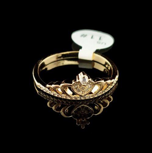 Kольцо позолоченное золото 585 пробы Корона с Фианитом