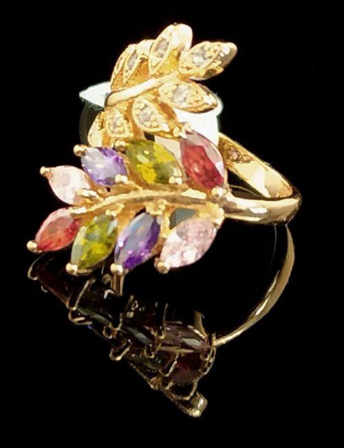 Kольцо позолоченное золото 750 пробы камень Самоцветы