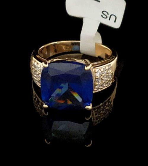 Женское кольцо позолоченное с   Танзонитом