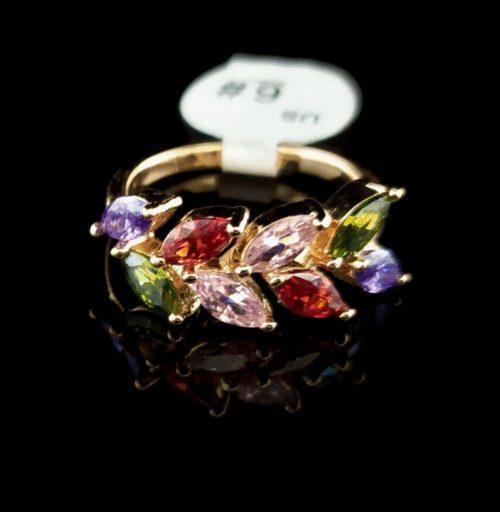 Kольцо позолоченное Самоцветы