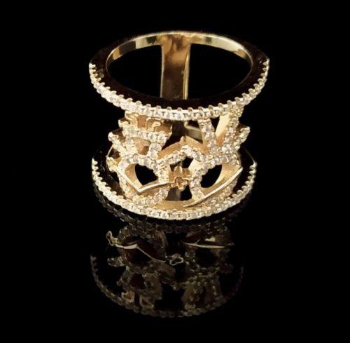 Kольцо позолоченное золото 750 пробы двойное
