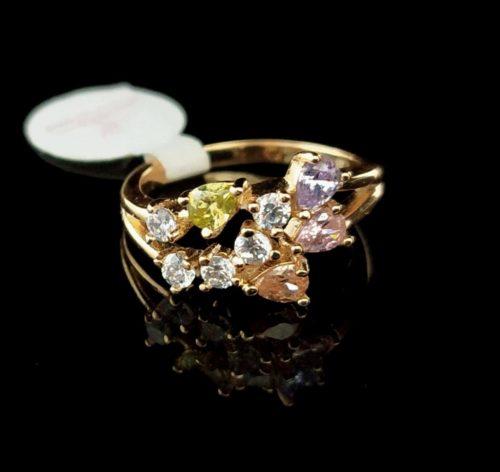 Kольцо позолоченное золото 585 пробы с Самоцветами