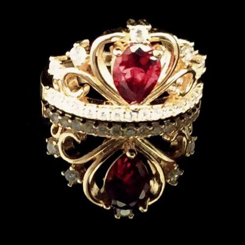 Kольцо позолоченное золото 585 пробы с рубином Корона